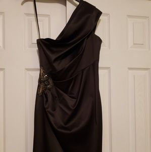 Black satin cocktail dress with rhinestone detail